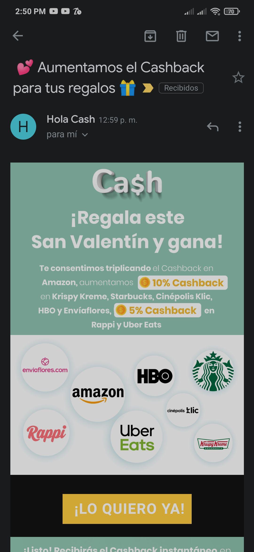 Hola Cash 10% CashBack en Krispy Kreme, Starbucks, Cinépolis Klic, HBO y Enviaflores; 5% en CashBack Rappi y Uber Eats