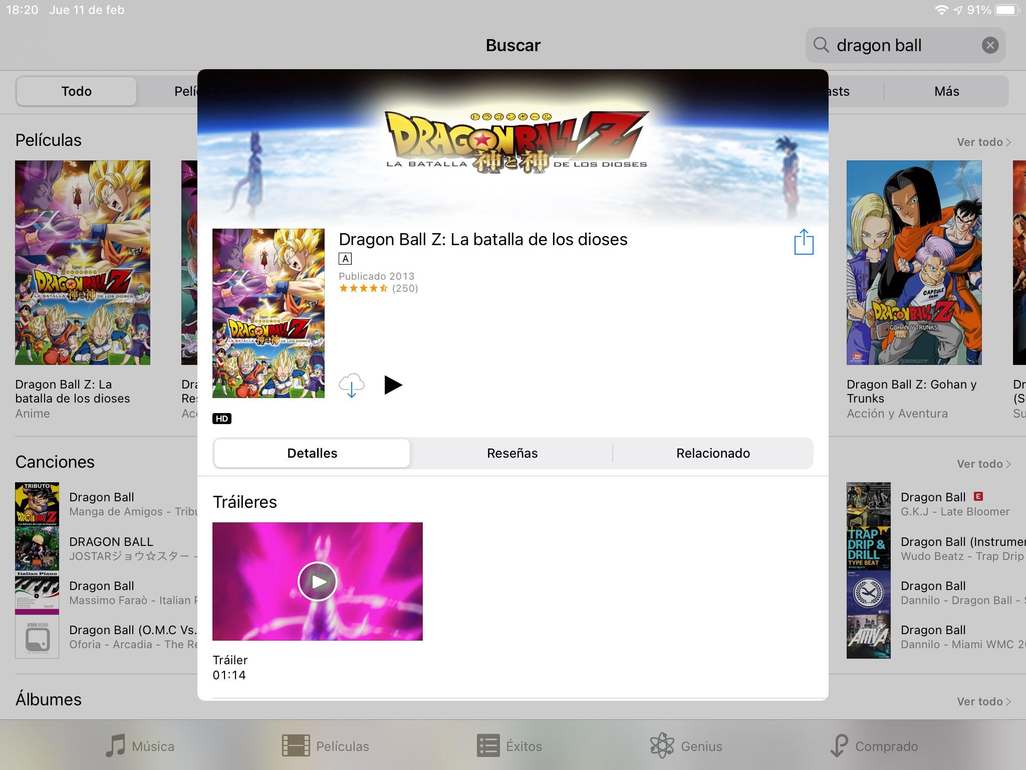 iTunes: Dragon Ball Z: La batalla de los dioses