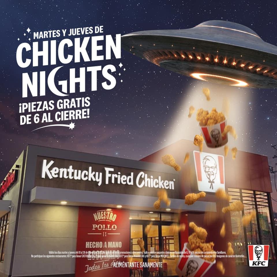 Promoción KFC Chicken Nights 2021: Piezas de pollo GRATIS los martes y jueves de las 6:00 al cierre