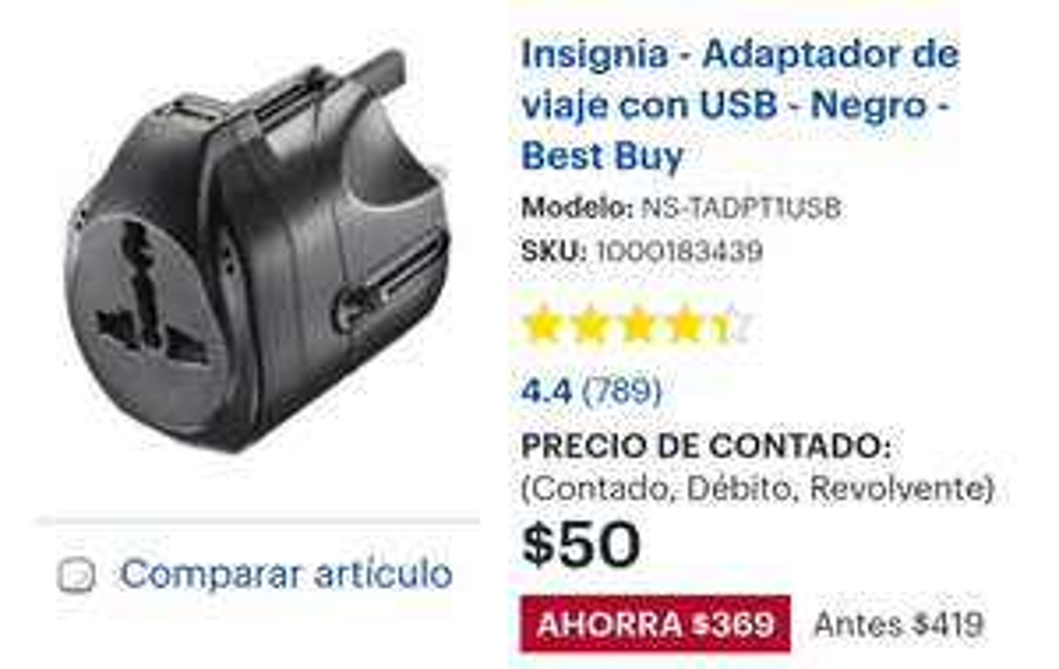 Insignia - Adaptador de viaje con USB INTERNACIONAL Negro - Best Buy