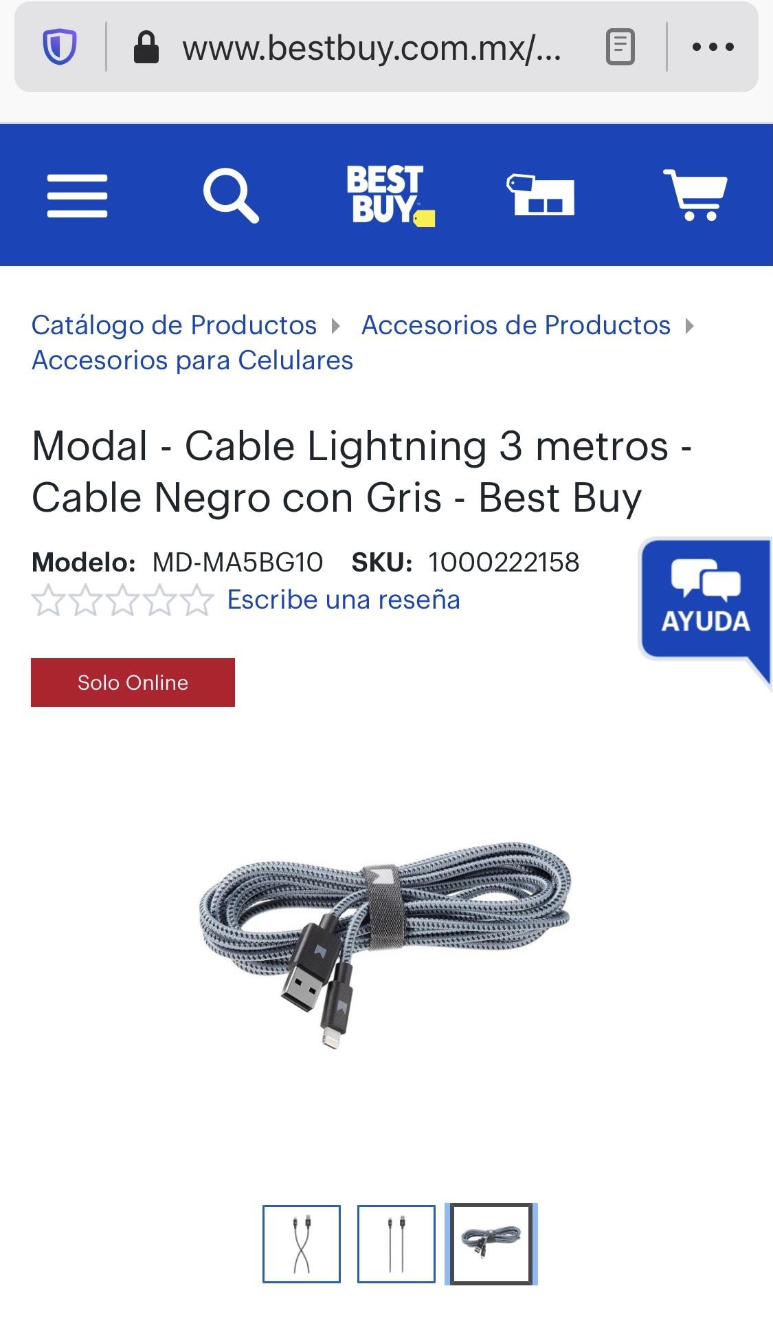 Best Buy: Cable de 3 metros para iPhone o IPad.