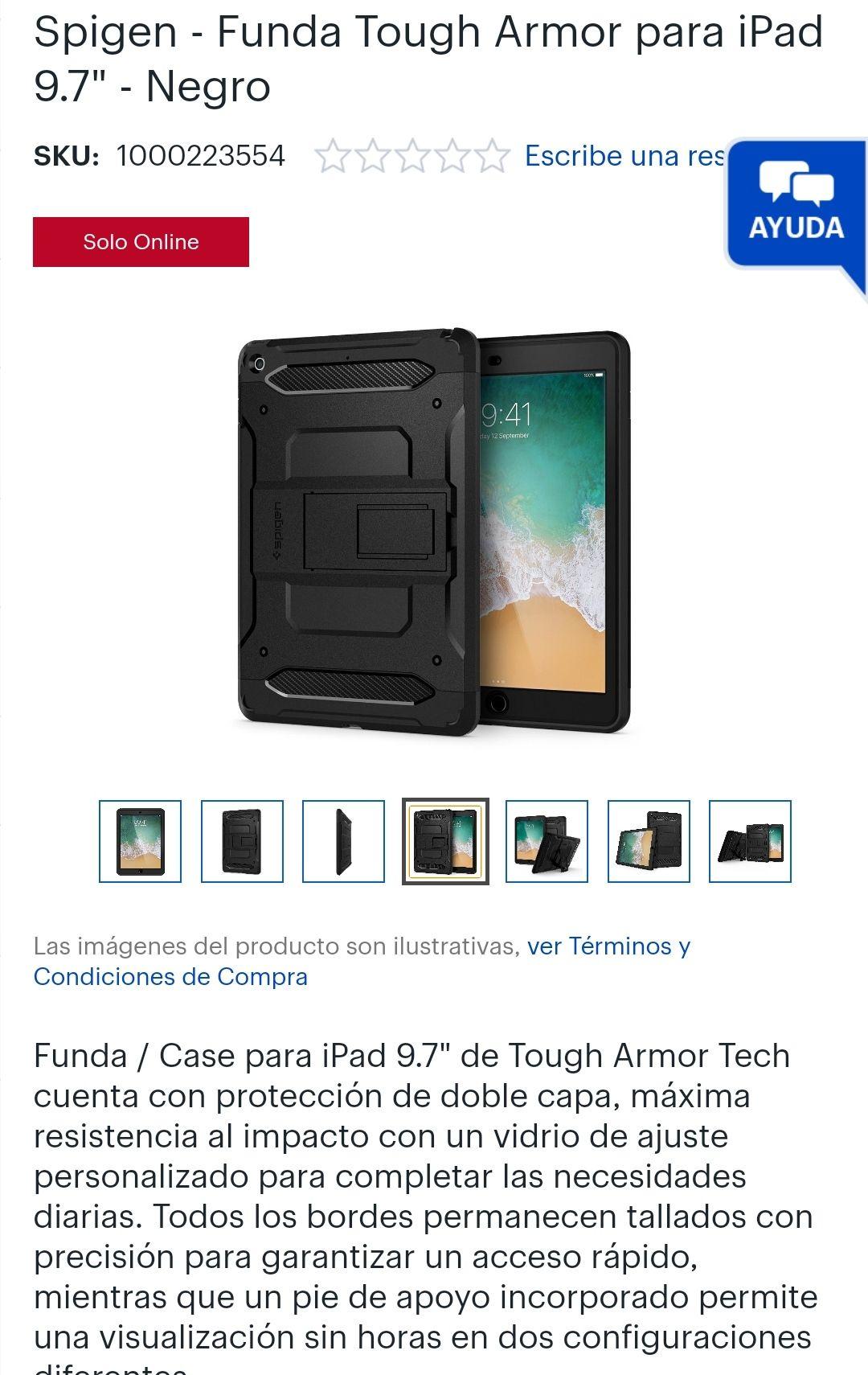"Best Buy- Spigen - Funda Tough Armor para iPad 9.7"" - Negro"