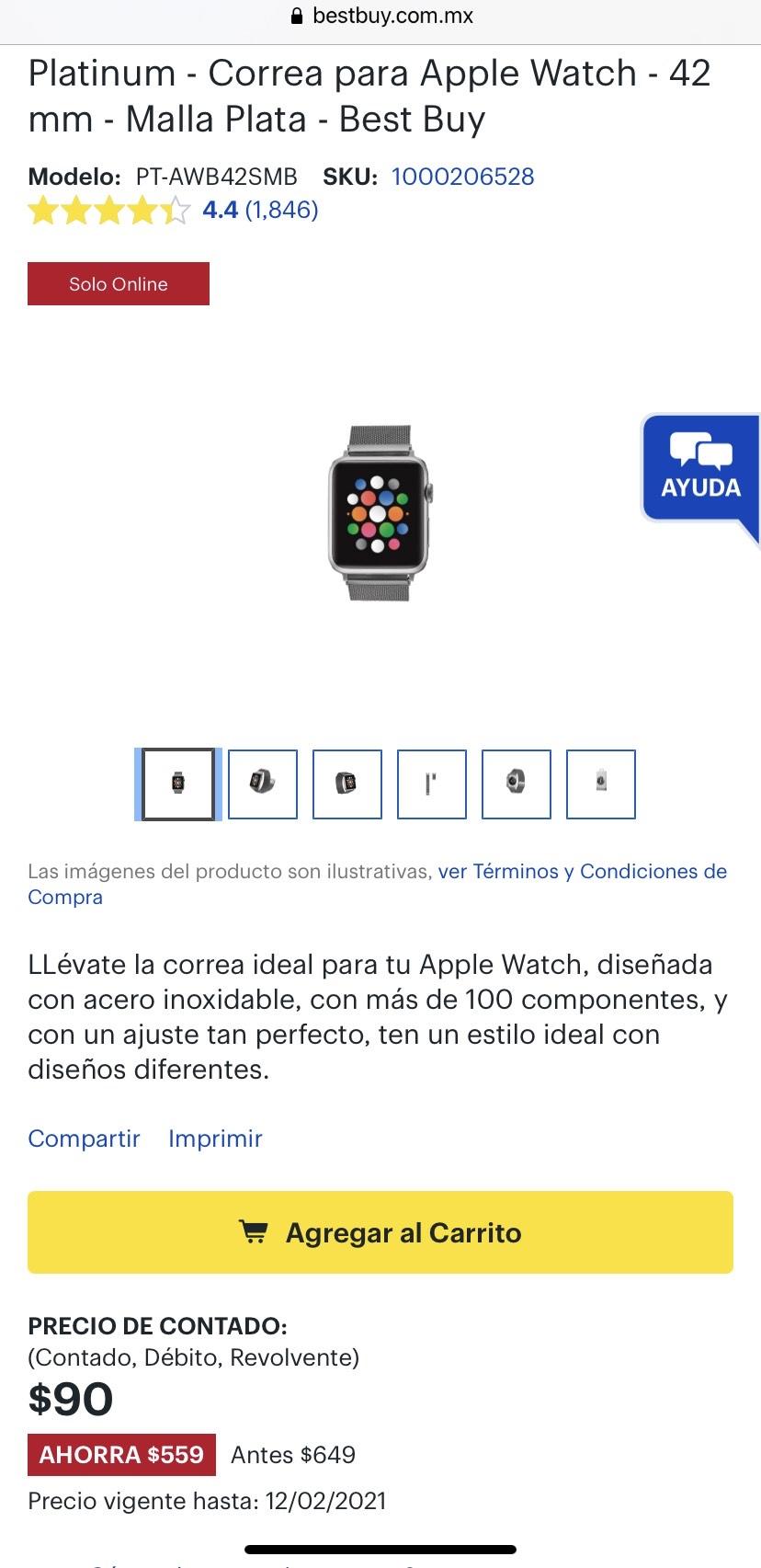 Best buy: Correa Malla para Apple Watch 42mm plata.