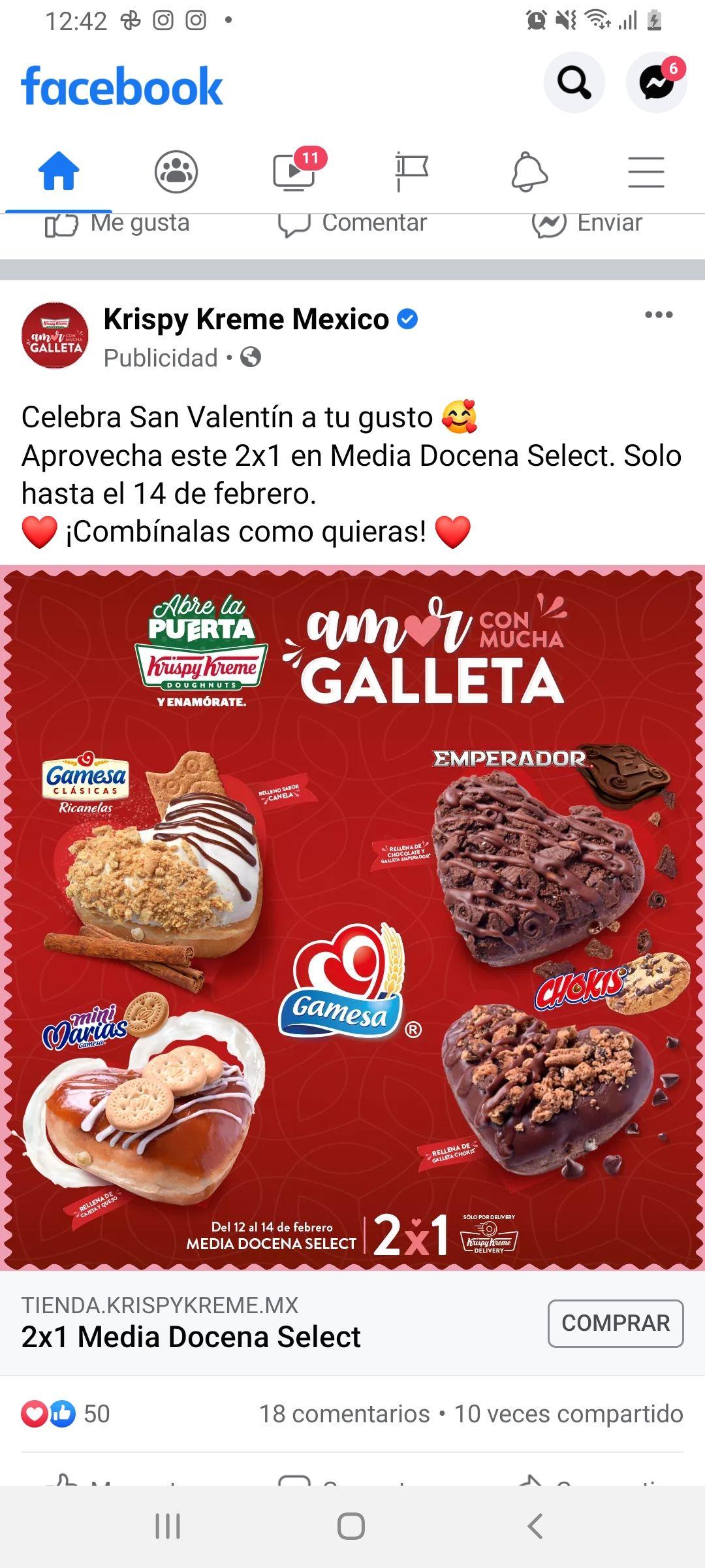 Krispy Kreme: Media docena Select 2x1 por 14 de febrero.
