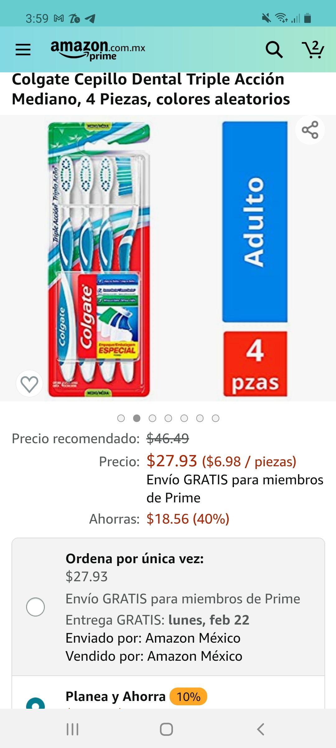 Amazon: Colgate Cepillo Dental Triple Acción Mediano, 4 Piezas, colores aleatorios