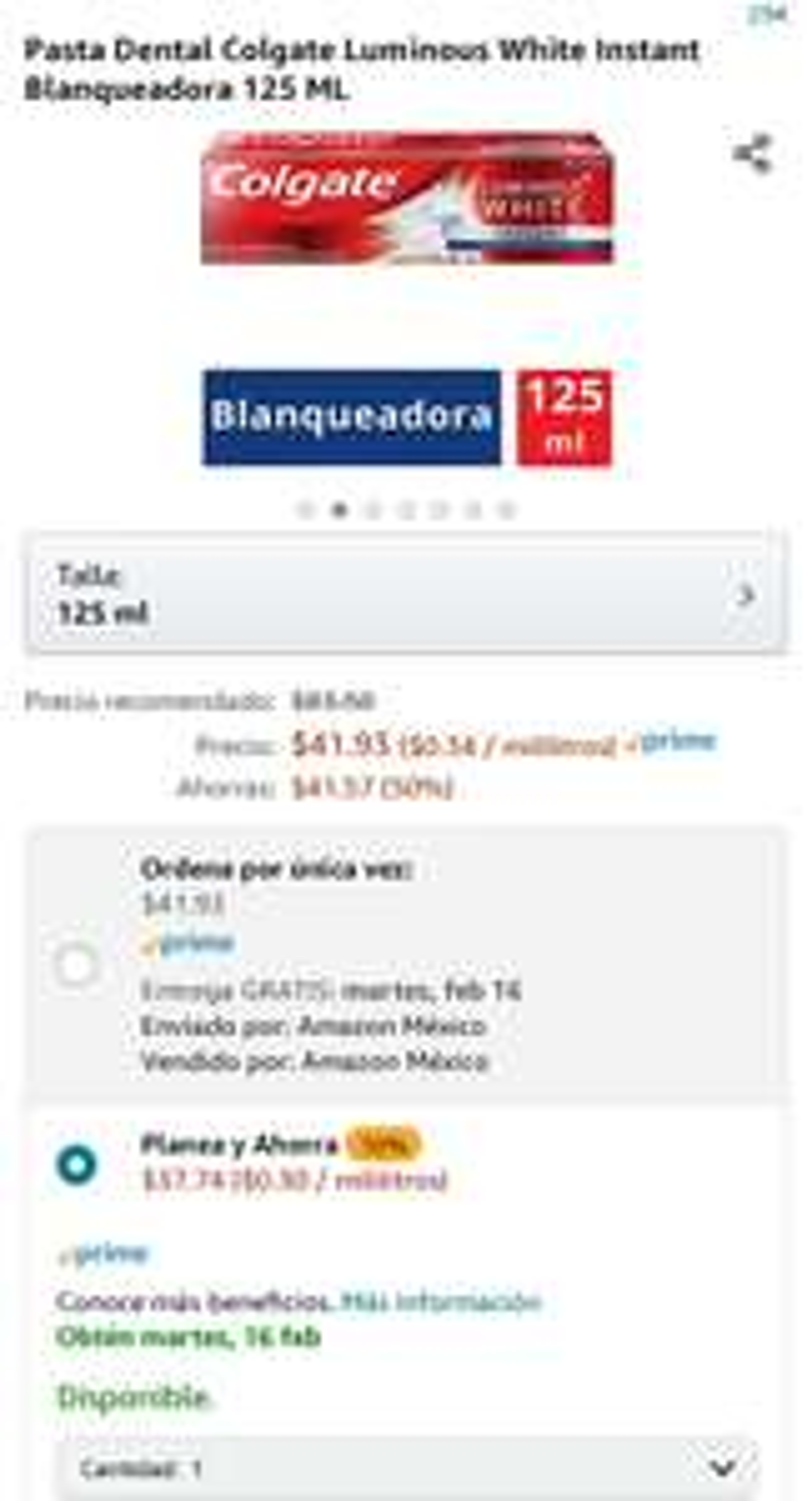 Amazon: Pasta Dental Colgate Luminous White Instant Blanqueadora 125 ML