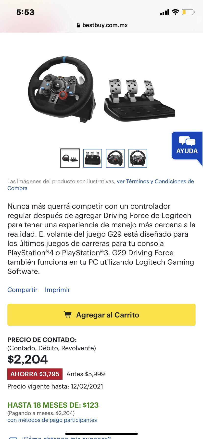 Best buy: Volante G29 para ps4