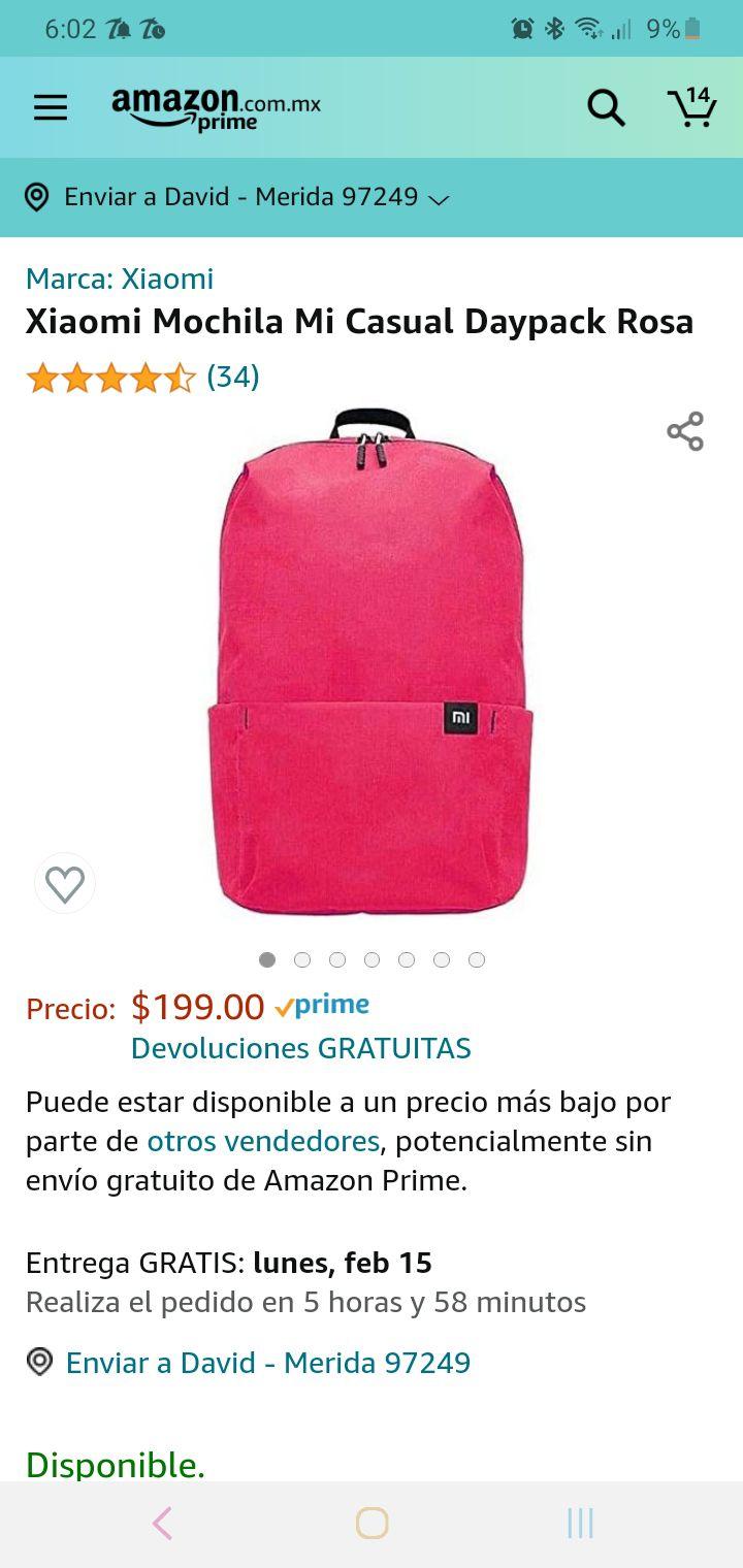 Amazon: mochila Xiaomi color rosa