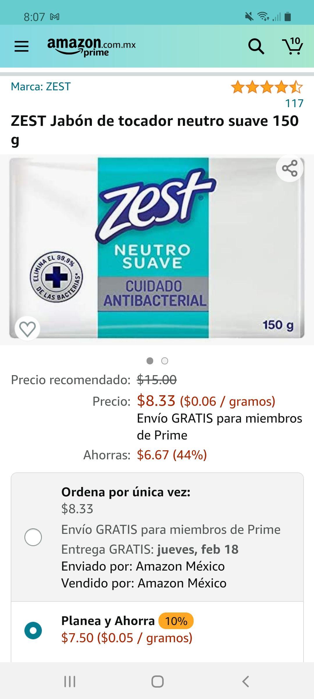 Amazon: ZEST Jabón de tocador neutro suave 150 g Y VARIOS AROMAS