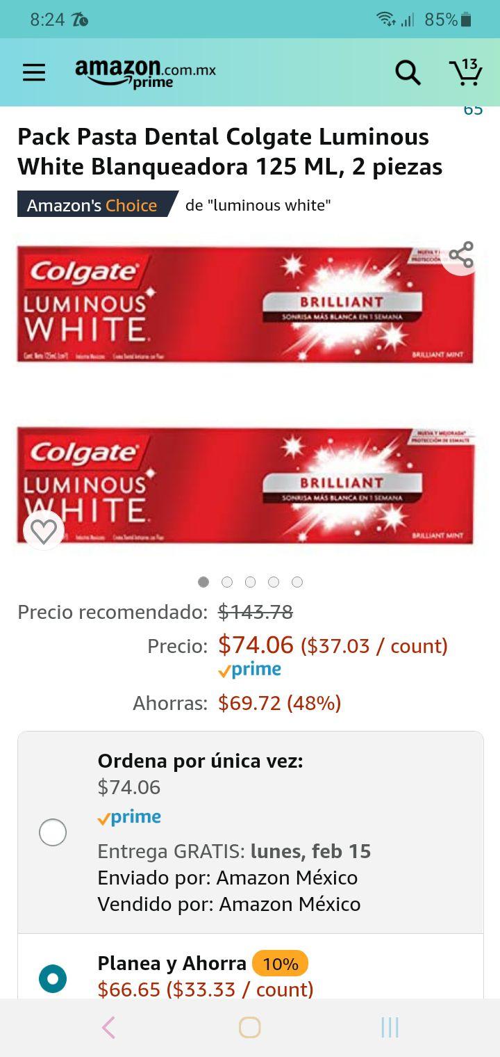 Amazon: paquete de 2 pastas luminous white de 125ml cada una