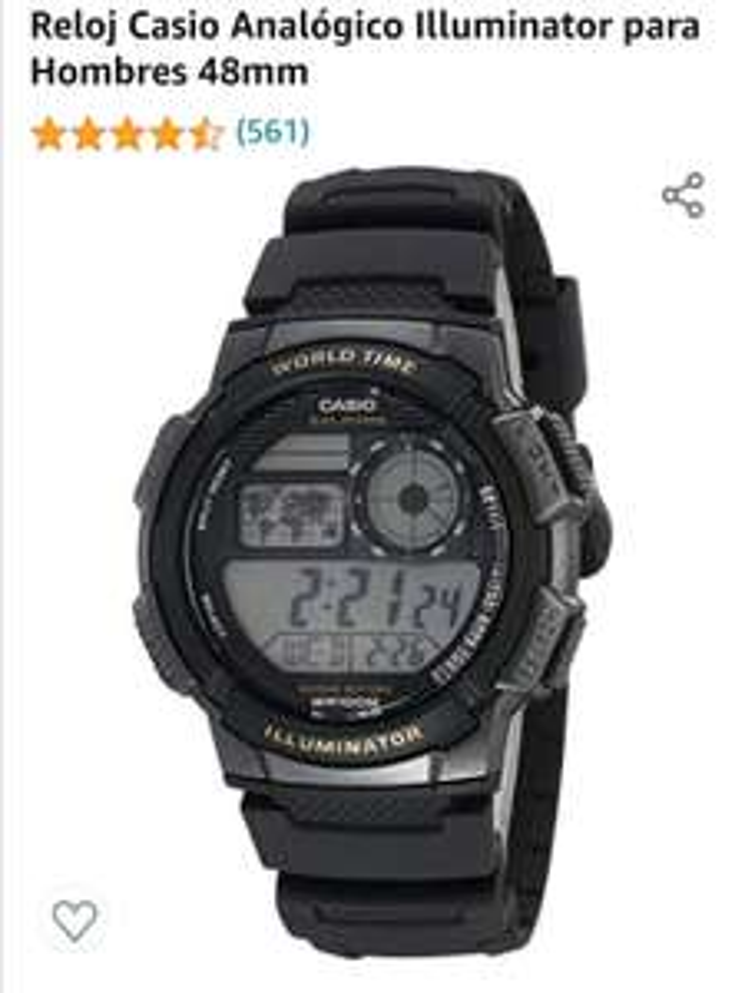 Amazon Reloj Casio Analógico Illuminator para Hombres 48mm