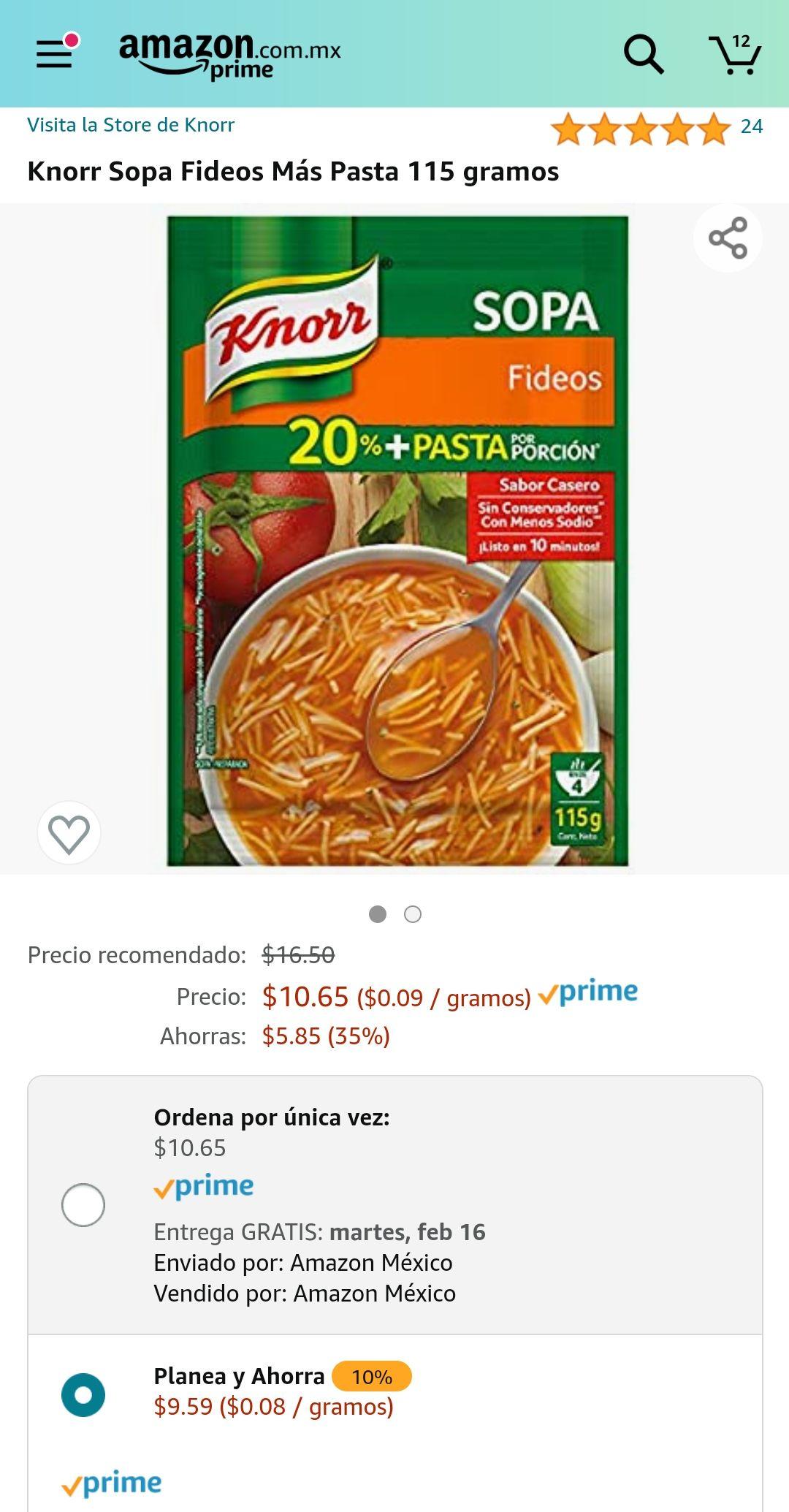 Amazon: Knorr Sopa Fideos Más Pasta 115 gramos