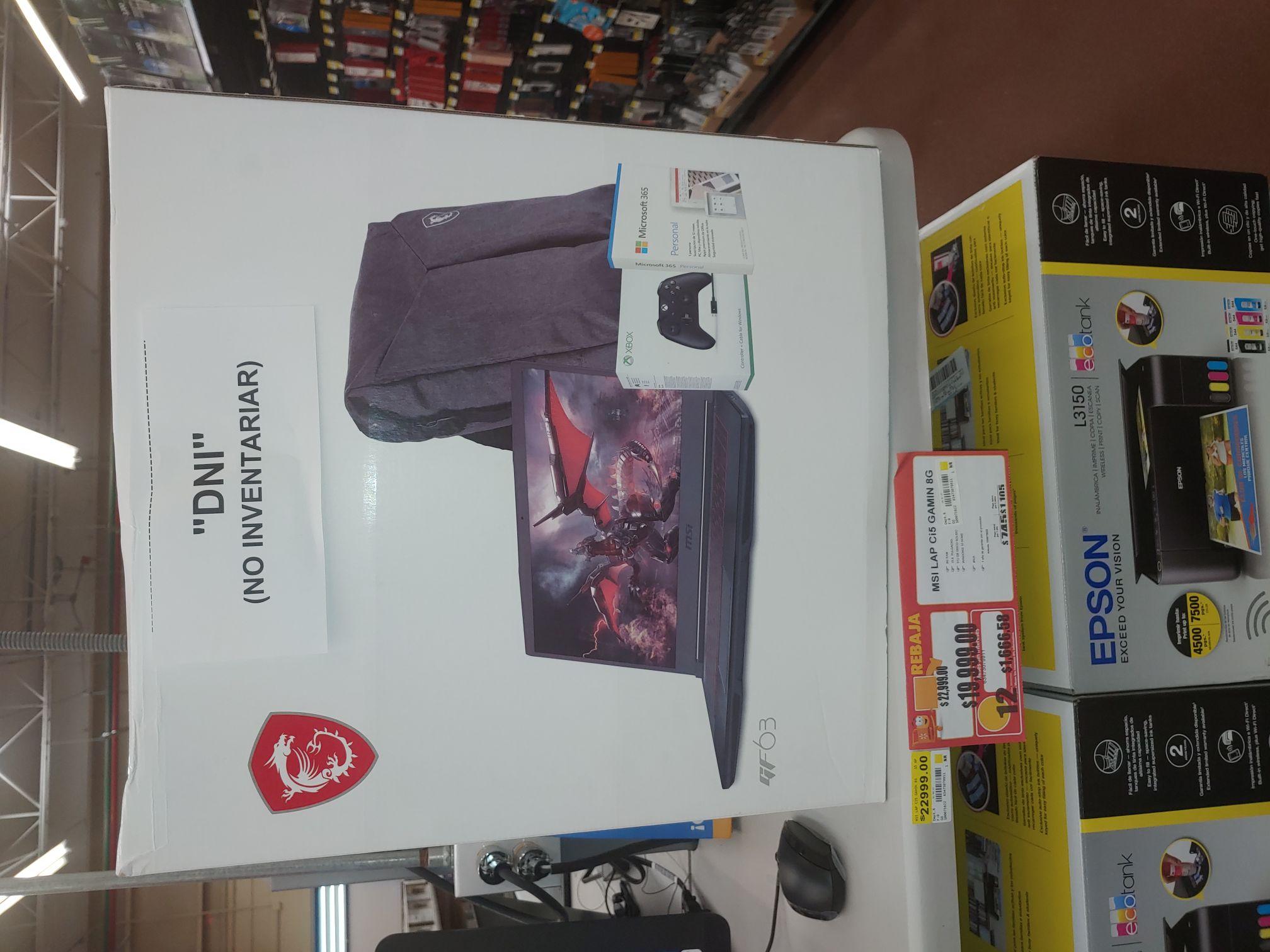 Walmart Laptop Msi Gf63 + control Xbox+ mochila+ Office 365