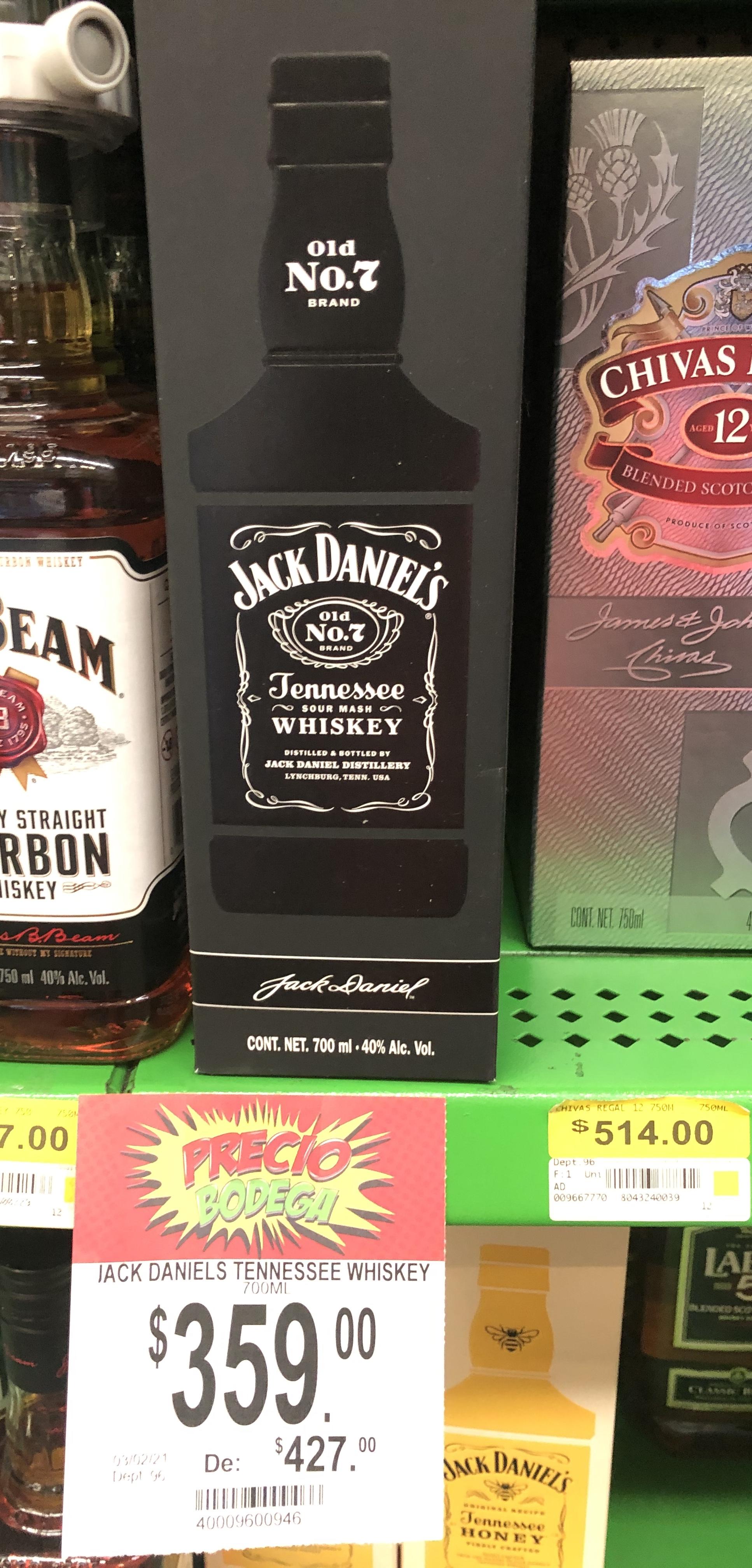 Bodega Aurrera: Jack Daniels 700ml en $359.00