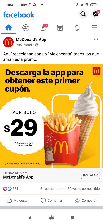 Macdonald's App: Cono+Papas grandes por $29