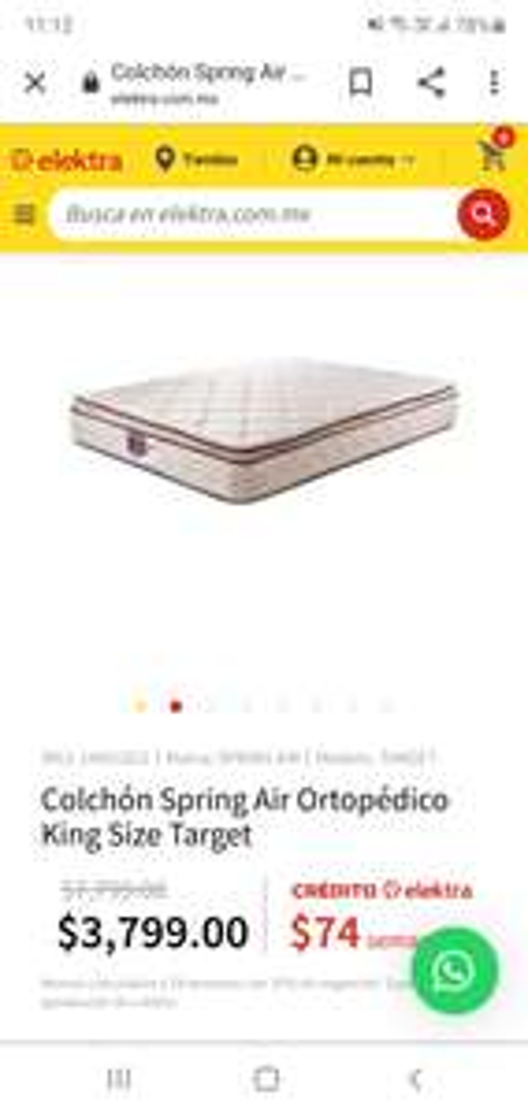 Elektra colchon spring air King size ortopedico