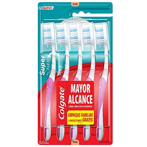 Amazon: Colgate Cepillo Dental Super Flexi y Capuchón, 5 Piezas