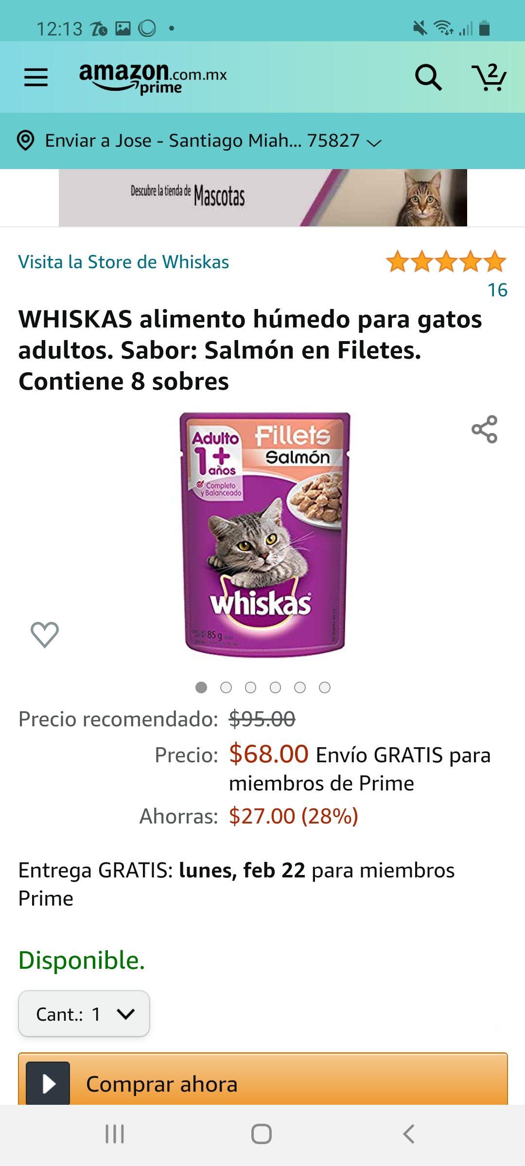 Amazon: WHISKAS alimento húmedo para gatos adultos. Sabor: POLLO ATUN Y PARRILADA MIXTA. Contiene 8 sobres