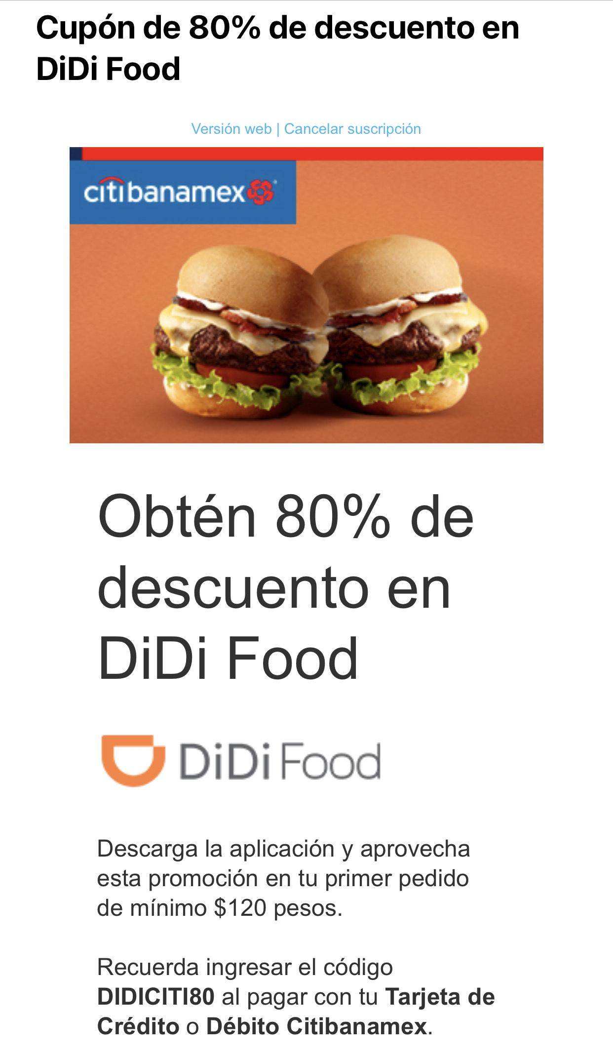 Codigo 80% de descuento en primer pedido DiDi Food Citibanamex