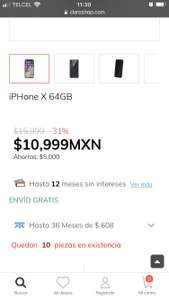 Claro Shop: iPhone X 64 GB 10,999