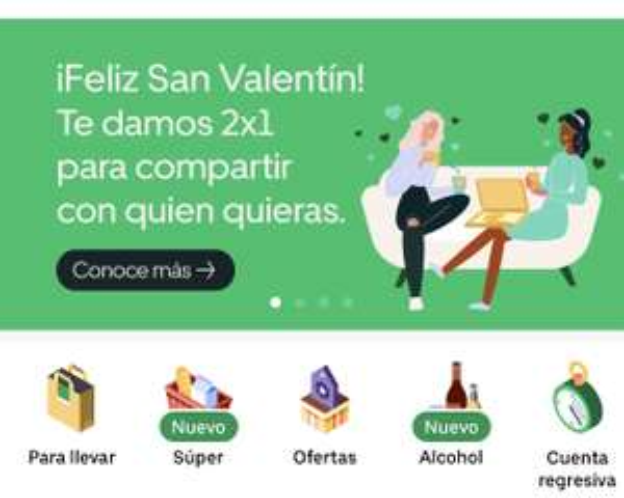 Uber Eats 2x1 en comida por san Valentín (Algunos Restaurantes)