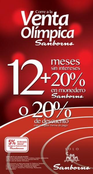 Venta Olímpica Sanborns: 12 MSI y 20% en monedero o 20% de descuento