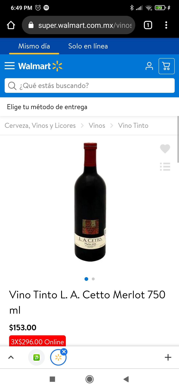Walmart: La Cetto Merlot 3 botellas 750 ml *$296