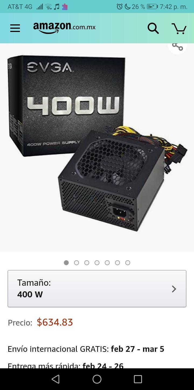 Amazon: EVGA ATX12V/EPS12V 400 Fuente de Poder 100-N1-0400-L1