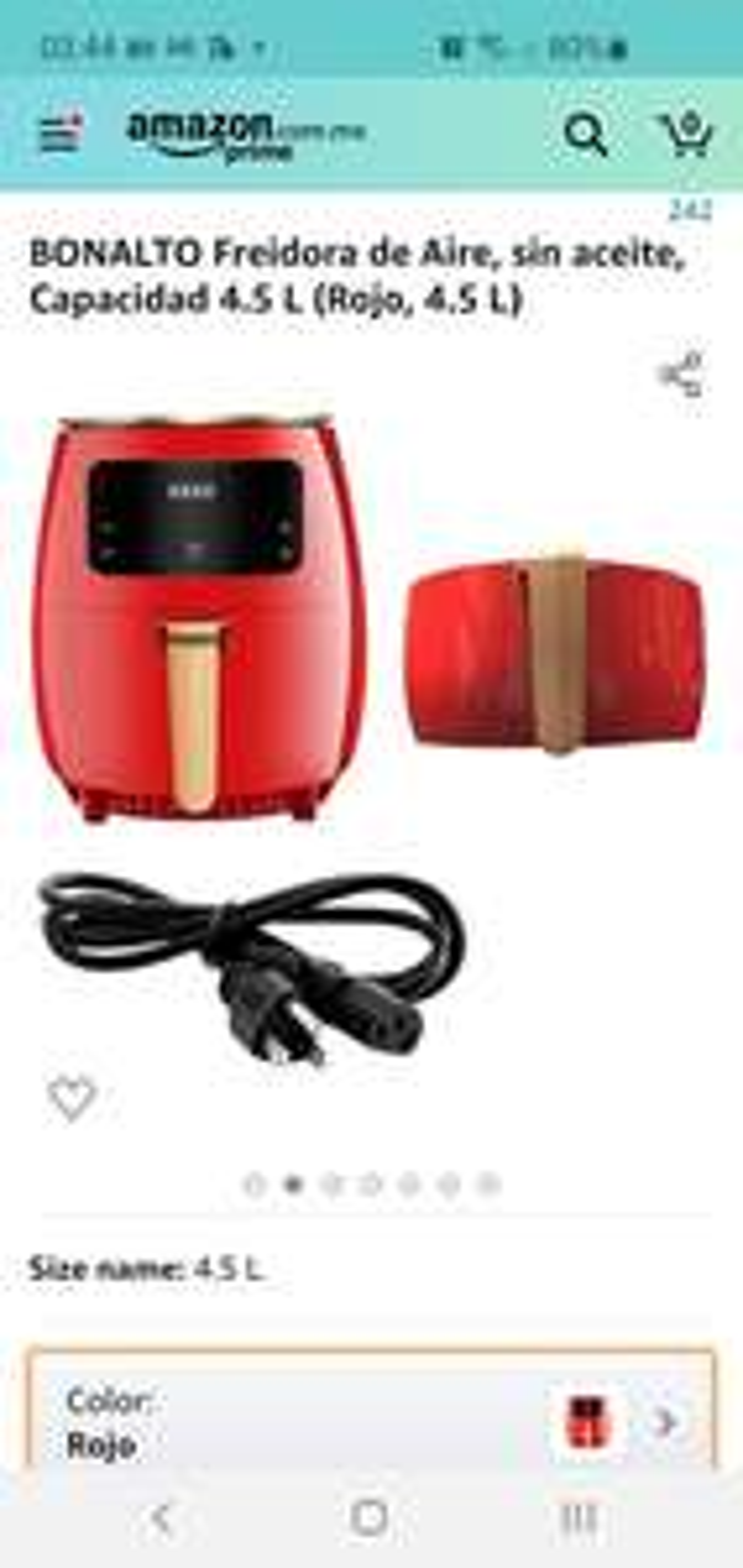 Amazon: BONALTO Freidora de Aire, sin aceite, Capacidad 4.5 L (Rojo, 4.5 L)