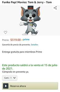 Amazon: Preventa - Funko Pop! Movies: Tom & Jerry - Tom