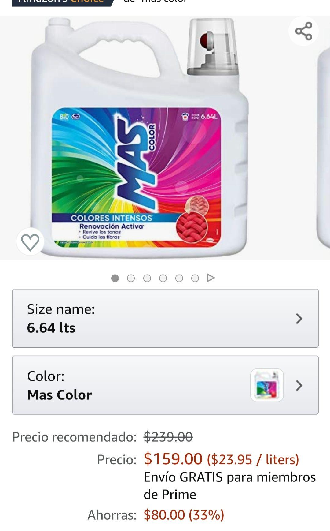 Amazon: Jabon líquido +color 6.64 L
