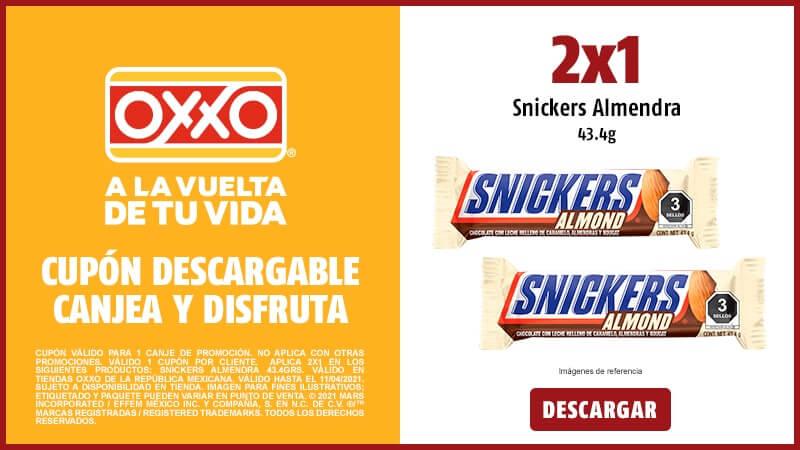 Oxxo: Snickers almendra 2x1 o 2x$25