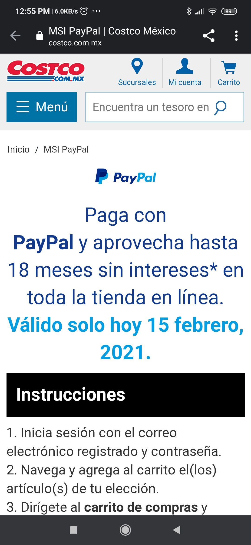 Costco: 18 meses sin intereses con Paypal y Citibanamex, solo hoy y solo en linea.