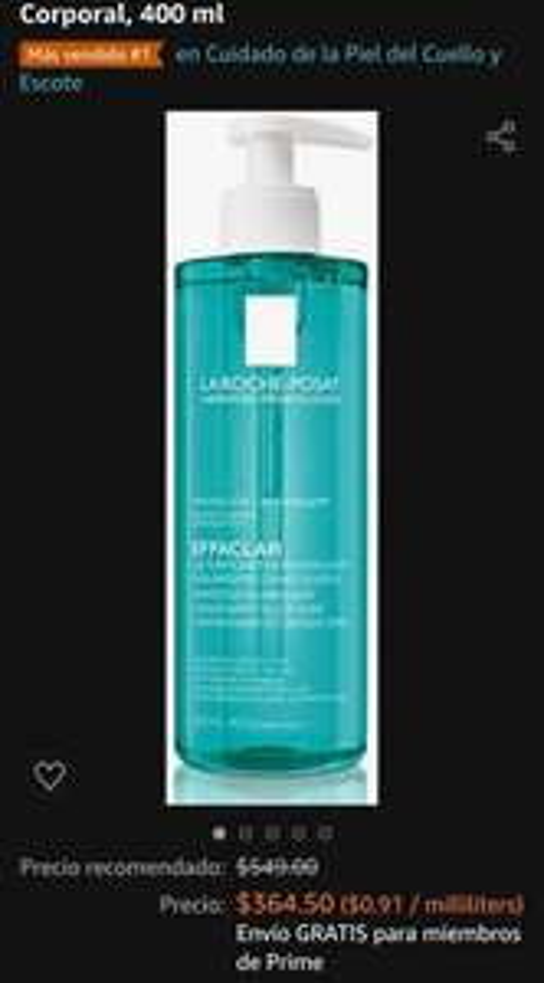 Amazon: Effaclar micro exfoliante limpiador facial 400ml