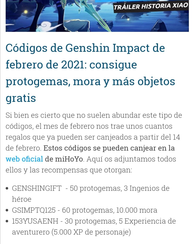 Genshin impact: Códigos para protogemas, moras y mas