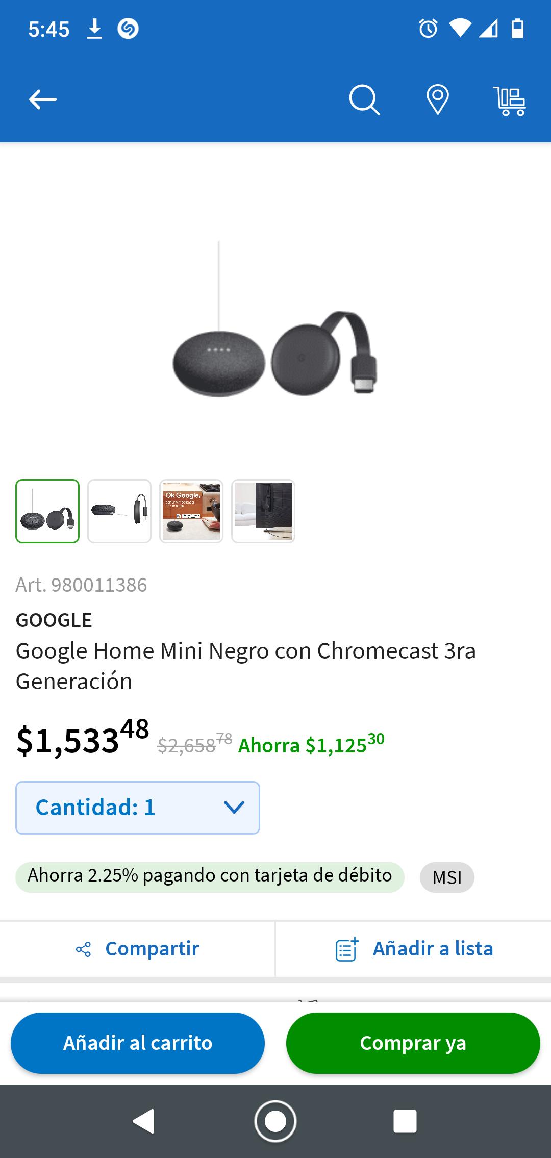 Sam's club: Google Home Mini Negro con Chromecast 3ra Generación