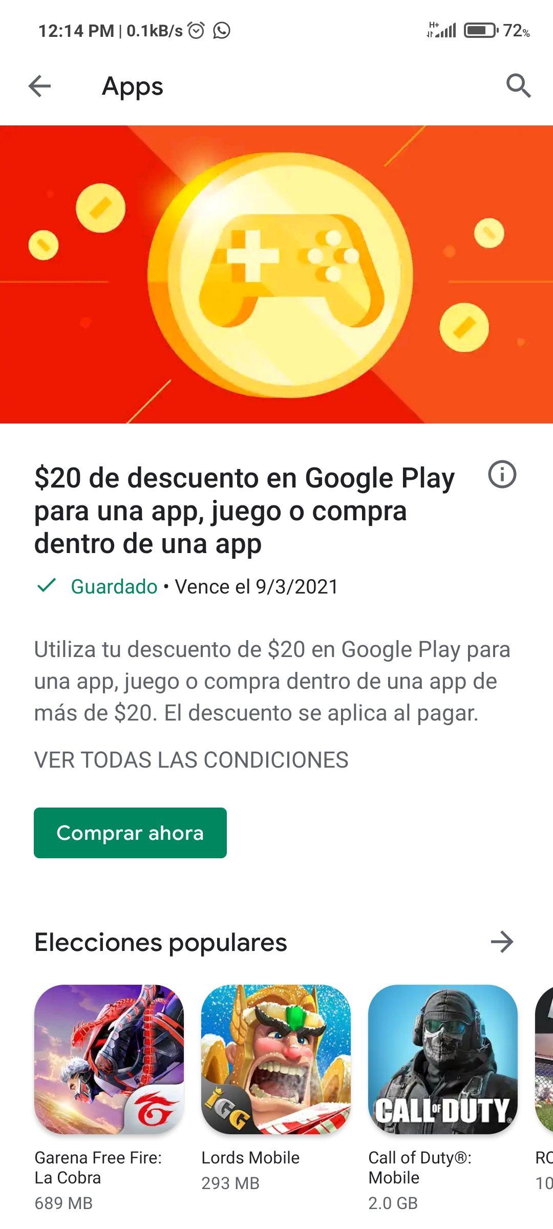 Google Play Store $20 pesos de regalo para cualquier compra (usuarios seleccionados)