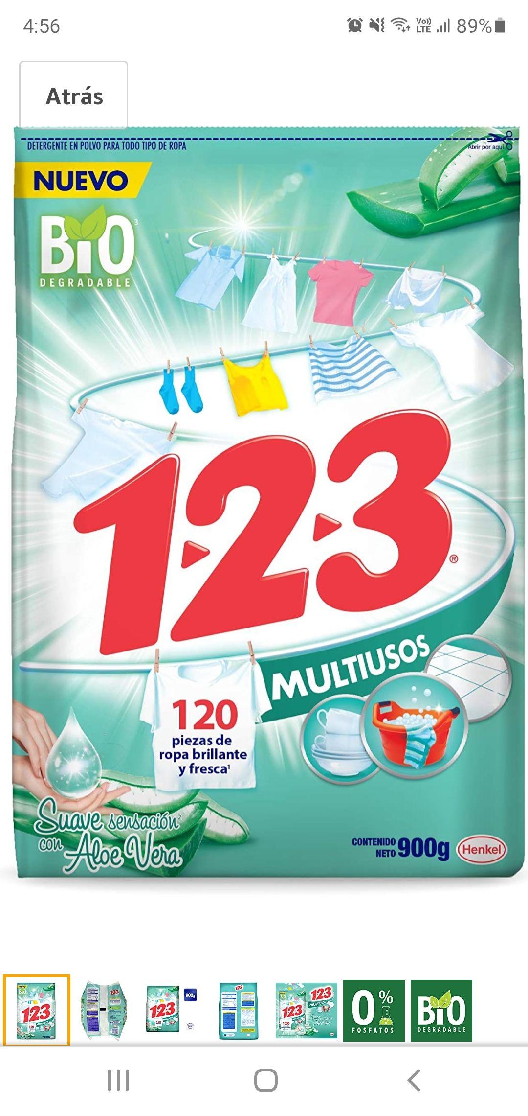 Amazon 1-2-3 polvo multiusos con aloe vera 900gr