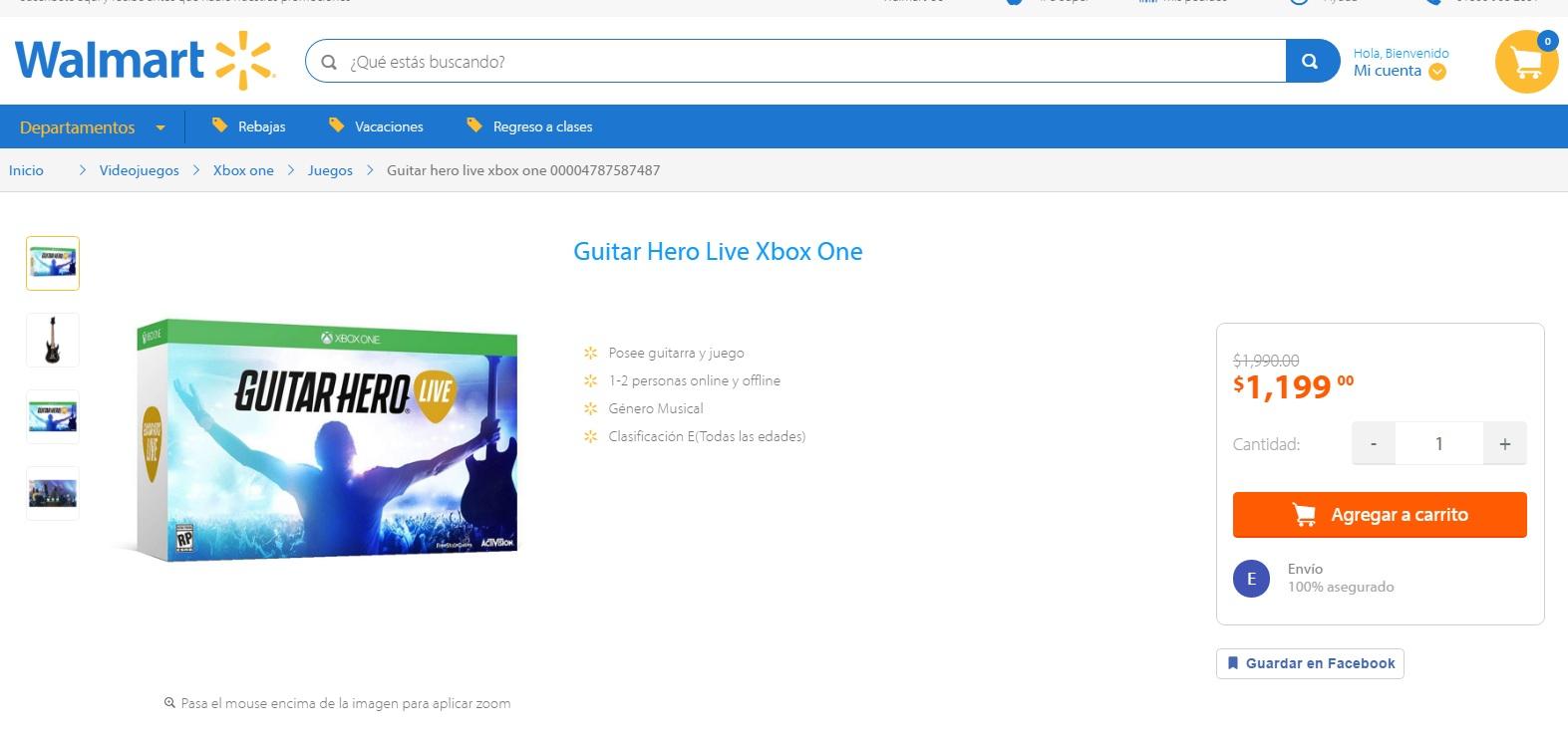 Walmart en línea: Guitar Hero Live para Xbox One a $1,199.