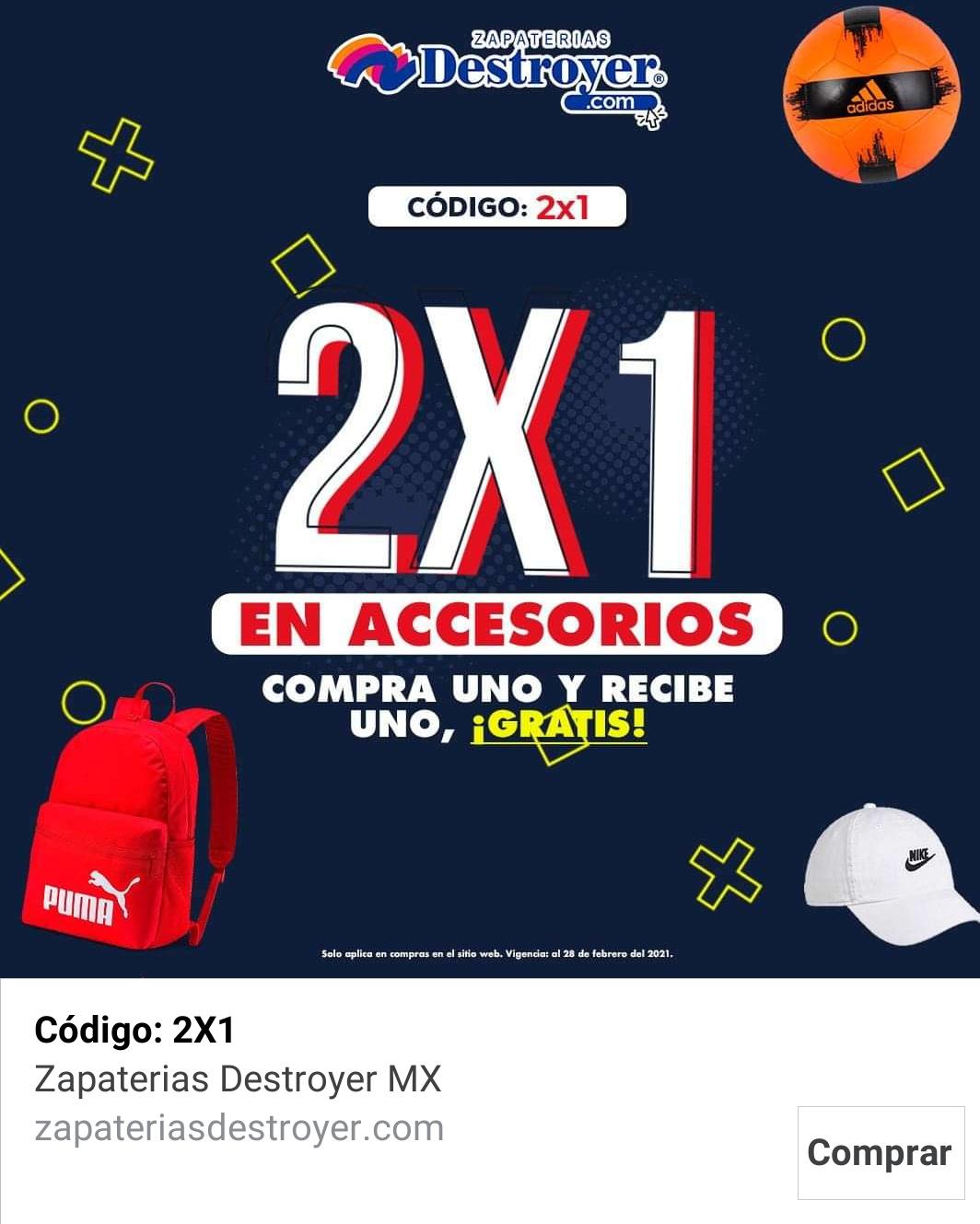 Destroyer Zapaterías 2x1 en accesorios