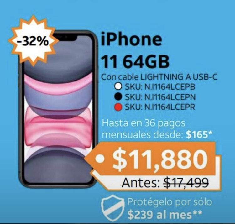 AT&T: iPhone 11 64 Gb TIENDAS FÍSICA con Plan de renta