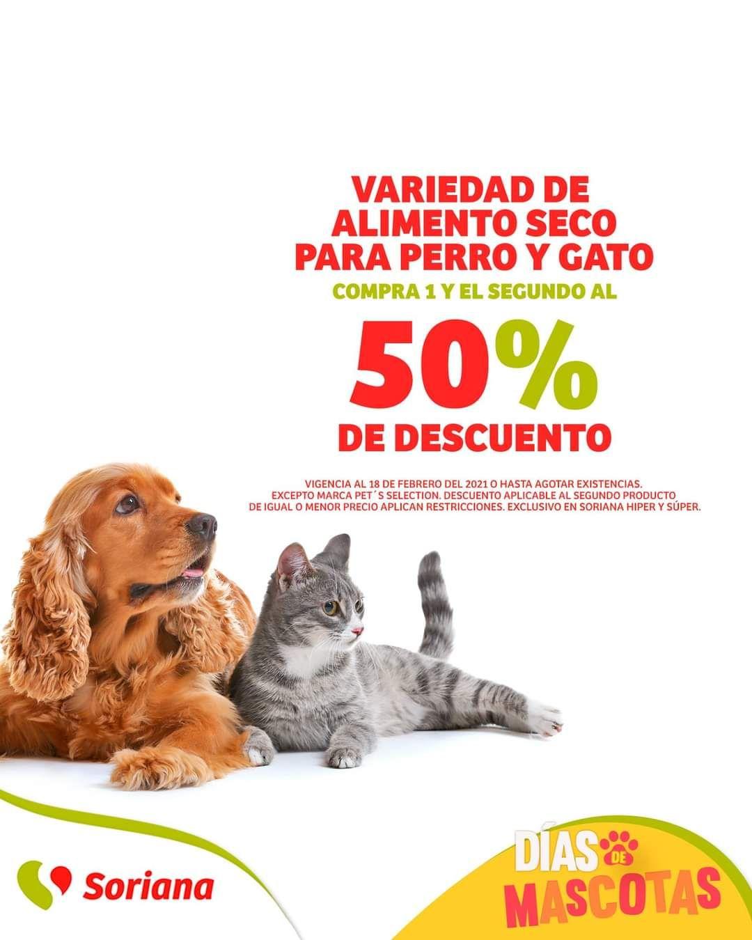 Soriana Híper y Súper: 2 x 1½ en variedad de alimento seco para perro y gato