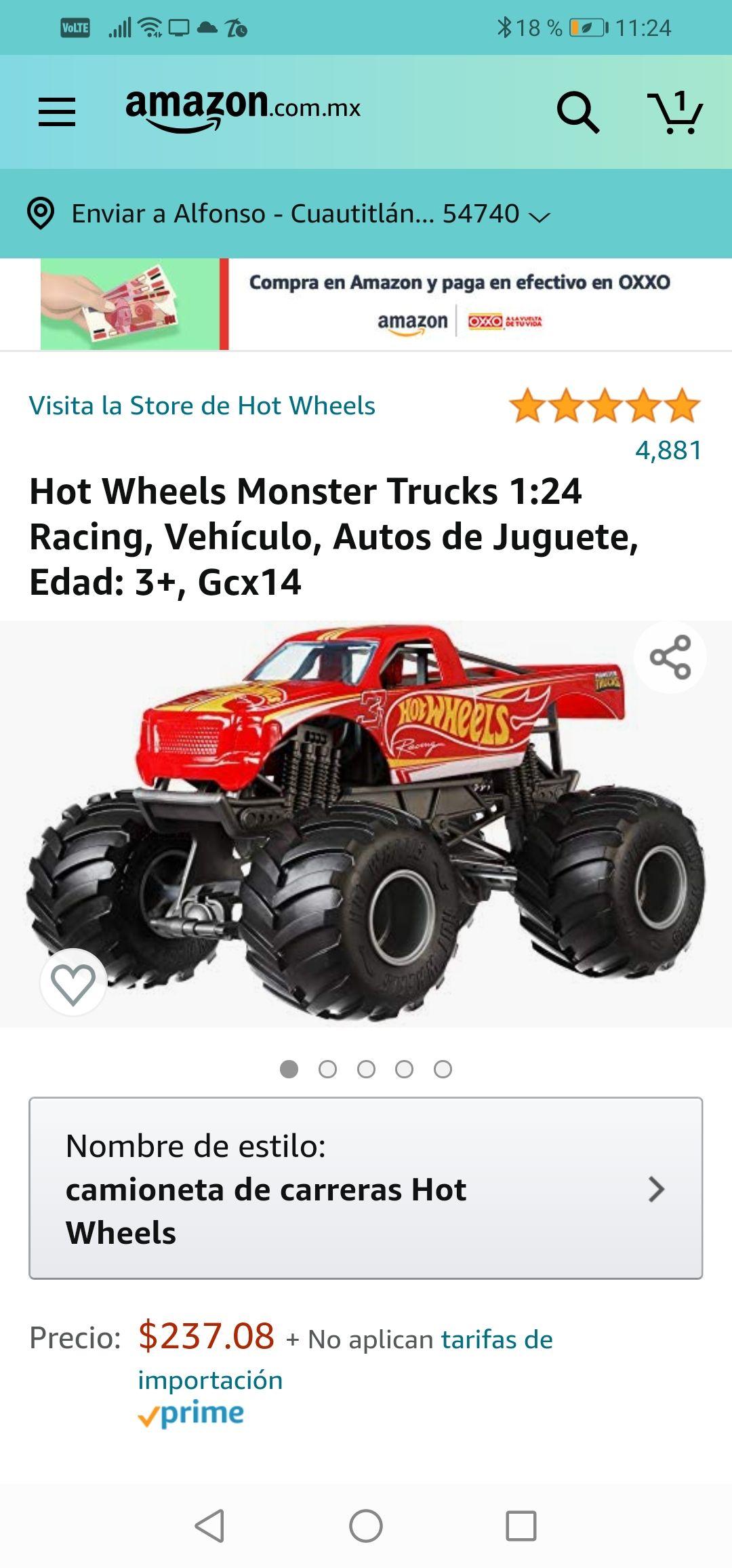 Amazon: Hot Wheels Monster Trucks 1:24