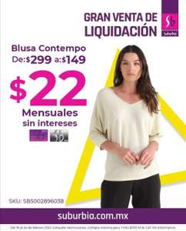 Suburbia: Blusa Contempo con lurex cuello V $149