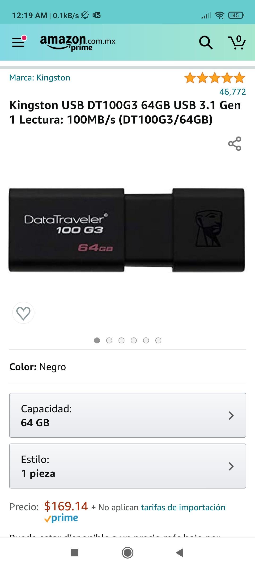 Amazon: Memoria USB 64 gb Kingston 3.1 (según)