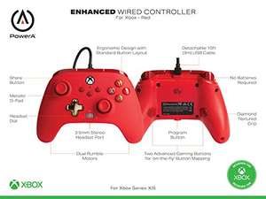 Amazon: Control alámbrico ROJO para Xbox One & Series X|S