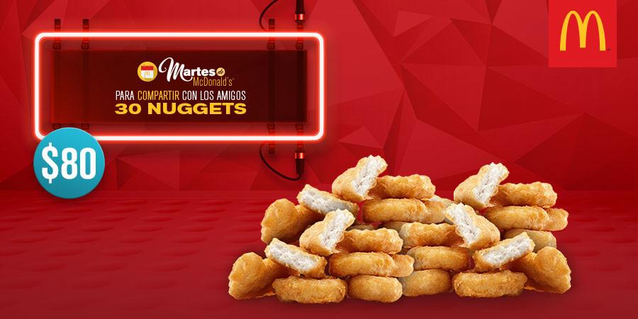 Martes de McDonald's: 30 McNuggets por $80 y Desayuno Especial Mexicano por $39