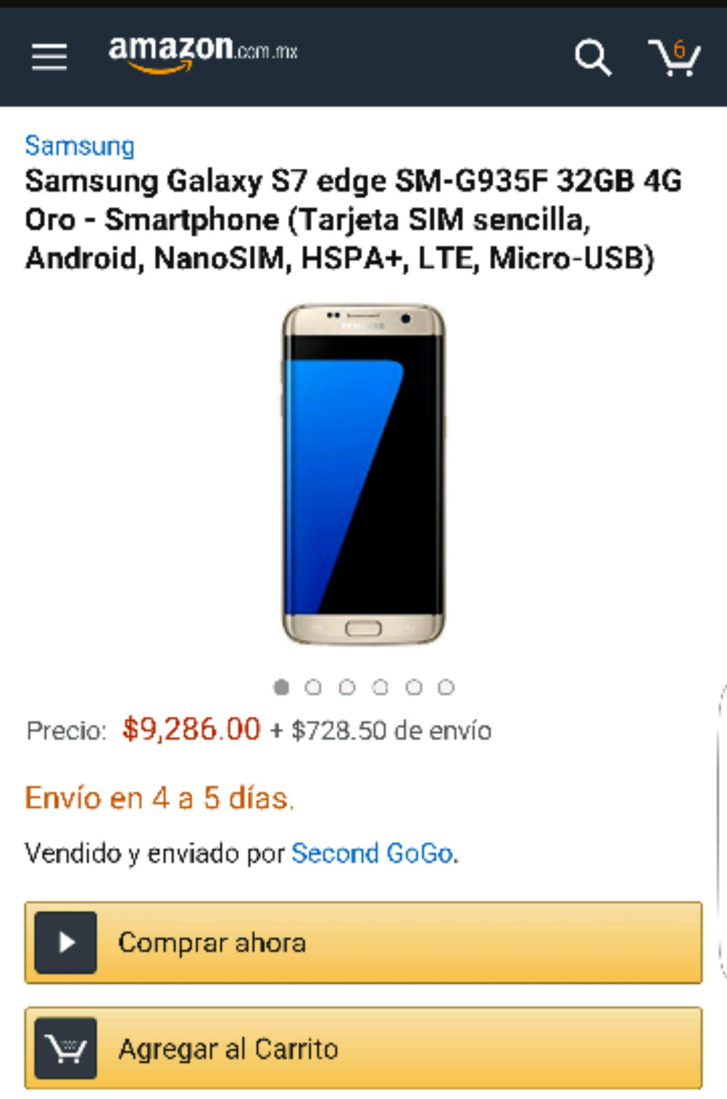 Amazon: Samsung Galaxy S7 Edge a $10,014 (Vendedor nuevo desde Japón)