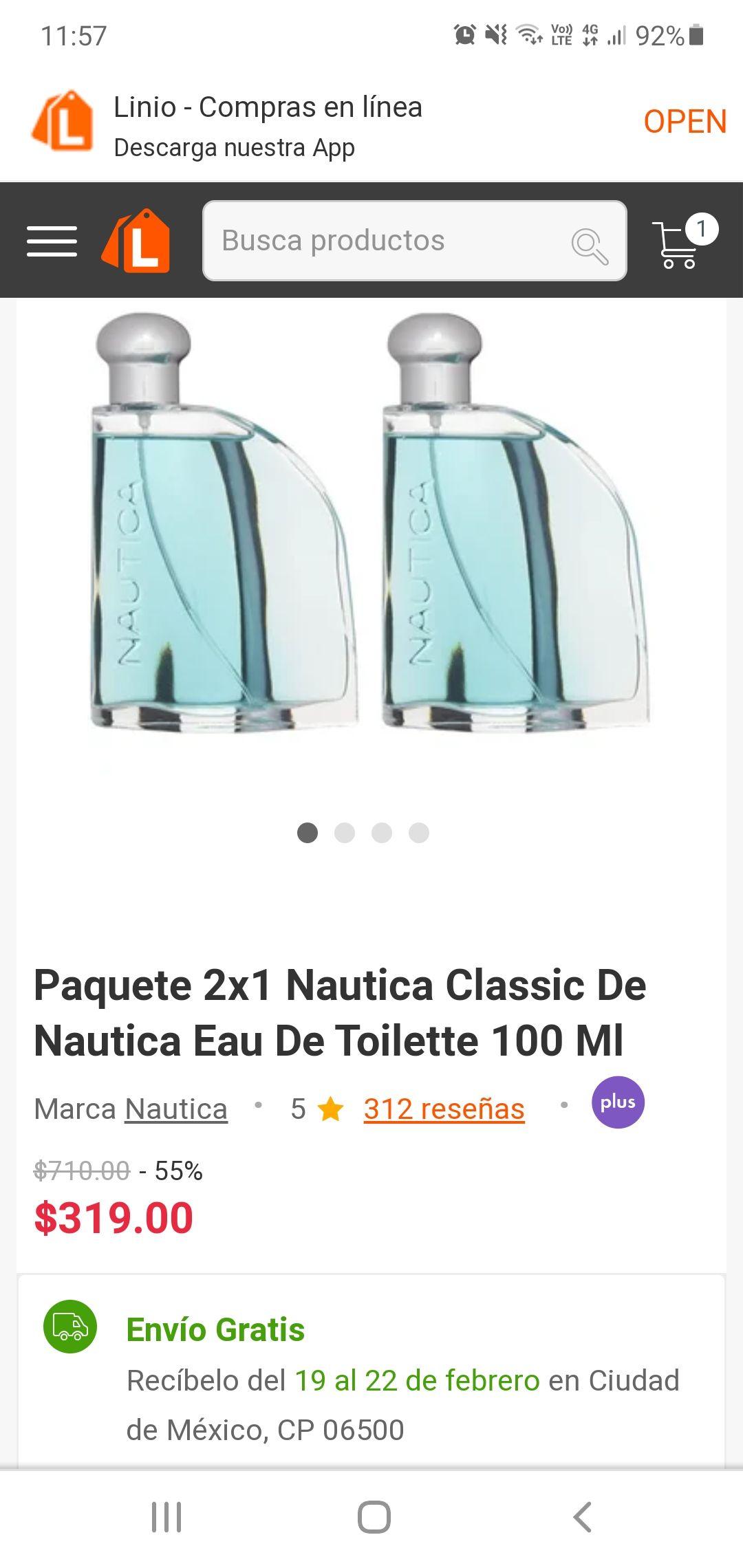 Linio paquete 2X1 nautica classic 100ml c/u