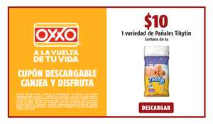 Oxxo: A SÓLO $10.00 1 VARIEDAD DE PAÑALES TIKYTIN CONTEOS DE 4S